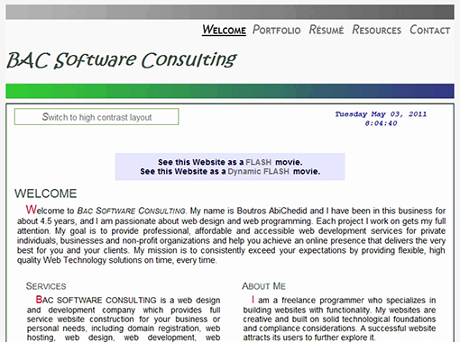 HTML Website of BAC Software Consulting.