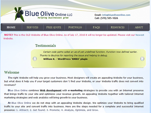 Old Website of Blue Olive Online.
