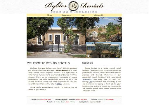 Byblos Rentals Website.