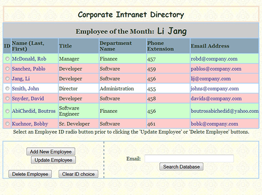 Employee directory Website.