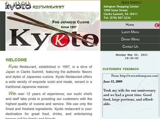Kyoto Japanese Restaurant Website.
