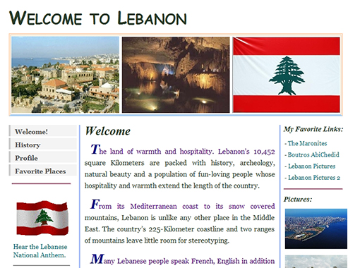 Informational Website about Lebanon.