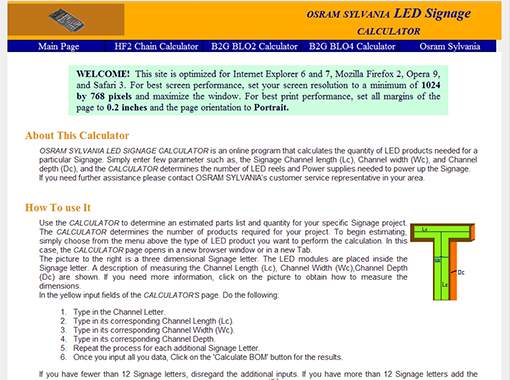 Osram Sylvania LED Signage calculator.