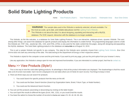 Solid State Lighting Dynamic Website.